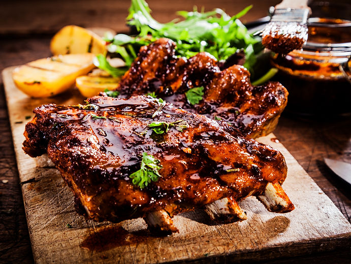 Delicious barbecued ribs seasoned with a