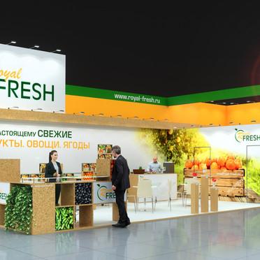 Trade show booth - OSB, custom. Выставочный стенд - ОСП, флористика, фрукты