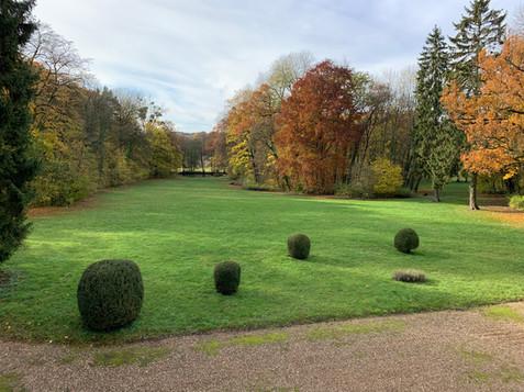 Vue aérienne côté étang en automne Château de Bétange