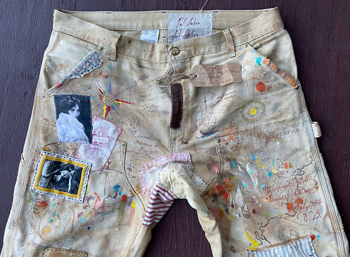 Carhartt work pants 38x32 CUSTOM Hand Painted Artificially aged