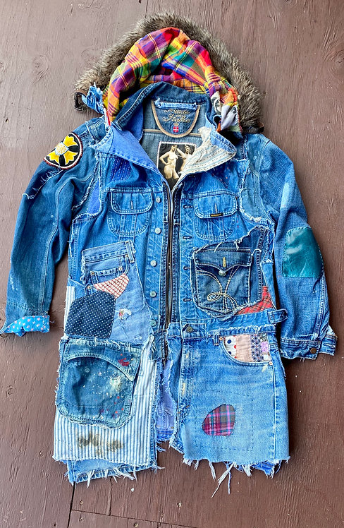 Denim Wrangler Levis 501 Hood Fur Collar Coat Men's size 42-44 (L,XL) (SOLD)