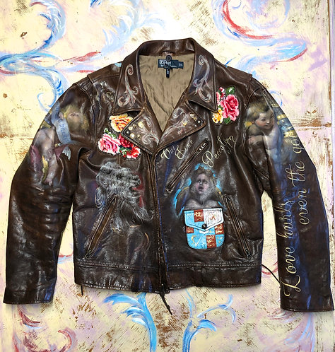 Ralph Lauren Leather Motorcycle Jacket Men's size XL Custom Hand Painted (SOLD)