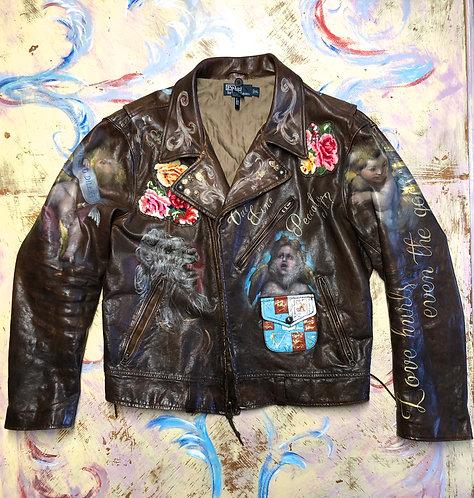 Ralph Lauren Leather Motorcycle Jacket Men's size XL Custom Hand Painted (SOLD)
