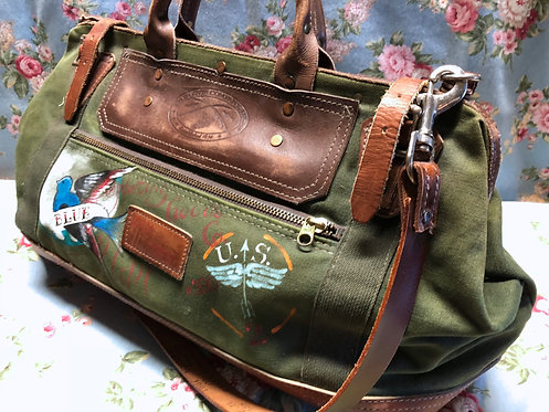 Canvas, Leather Gripsack, Hand Painted