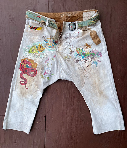 "Sailor Cotton Pants "" In Search of Adventures"" Hand Painted size XL"