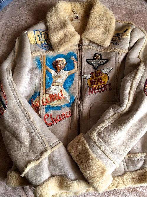 Vintage 70s Real McCoy's B-3 Sheepskin Bomber Leather Jacket size XL (SOLD)