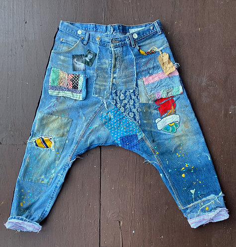 "Denim Harem style jeans ""Scarlet Sails"" Men's size XL"