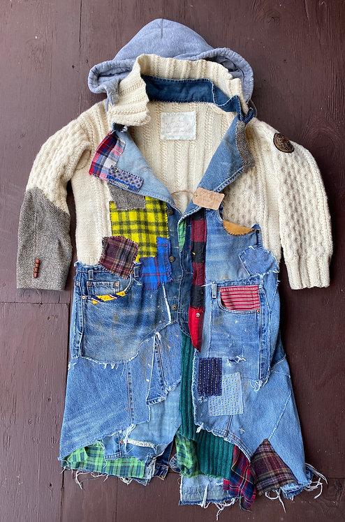 Wool Hand Knit& Denim Levis 501 Hood Coat Custom Men's size 42-44 (L,XL)