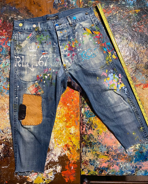 "Blue Denim Pants ""Cheerful Artist"" 38x30"