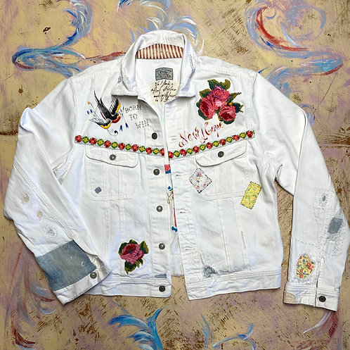 "Ralph Lauren White Denim Jacket size XL ""La Mascarade"""