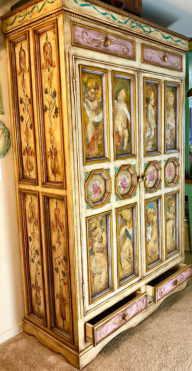 """Wood Cabinet """"Soul of Angels"""" Hand Painted"""