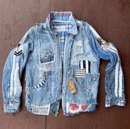 Denim Varsity jacket unisex size US (L-XL) EU( 42-44)