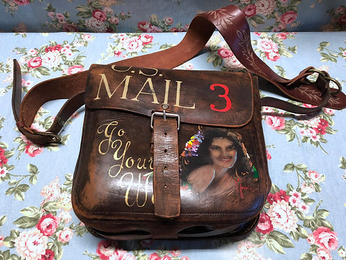 "Legendary Antique Messenger Bag 40s ""Go your Way"" Hand painted"
