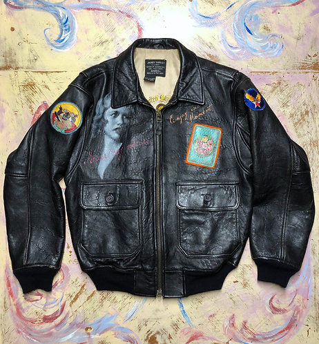 Avirex Leather Bomber jacket type G-1 size EU 42 US L Hand Painted