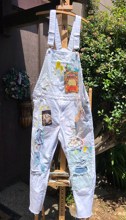 "White Denim Overalls  ""Circus Artist"" Hand painted size XL"