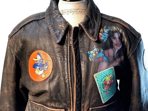 HABITAT CUSTOM Vintage Bomber Leather Jacket Size US M EU 42