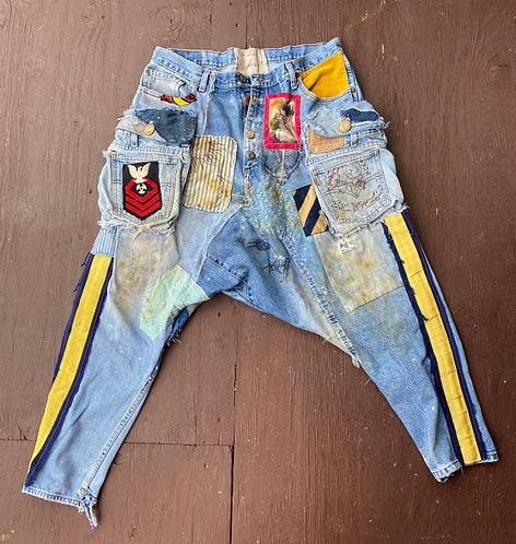 "Denim Cargo Pants ""Taste of the Sea"" size XL (38x32)"