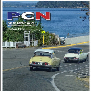 Cover of Pacific Citroen News with '60 and '56 DS19's heading on the Vashon ferry