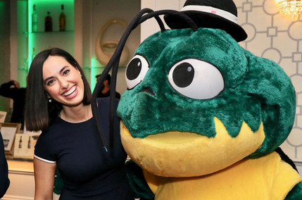 Katie Katro, ABC Channel 6 Reporter Flirting with the PRC Mascot
