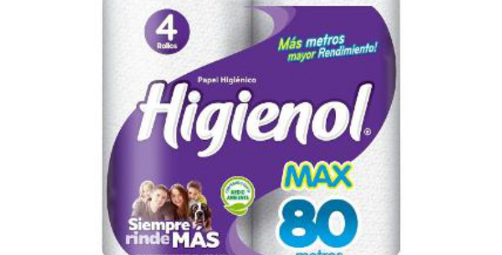 Papel Higiénico Max Manzanilla Higienol 320 Mts - Pack x 4un