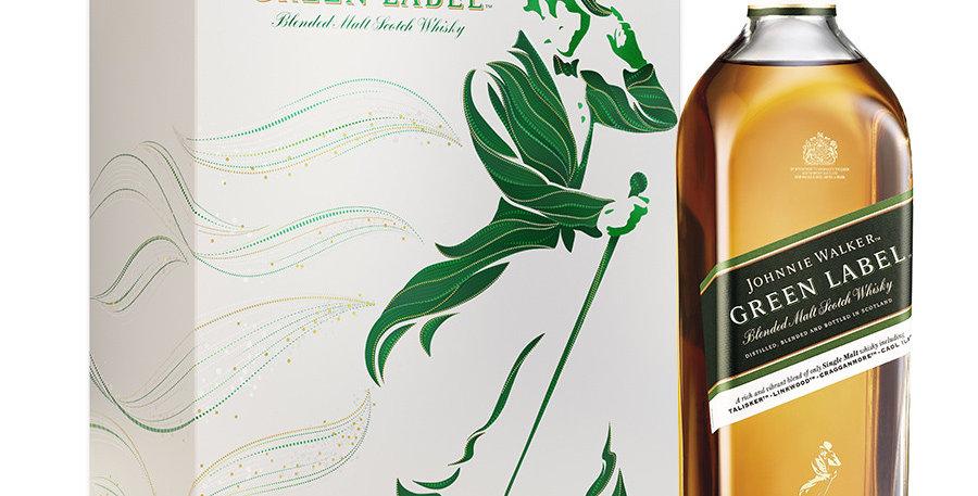 Johnnie Walker Green Label 750cc Estuche + 2 Vasos
