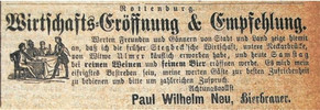 Zeitungsannonce aus dem Jahr 1885