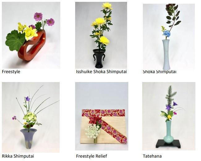 Ikebana examples from left to right top to bottom, Freestyle, Isshuike Shoka Shimputai, Shoka Shimputai, Rikka Shimputai, Freestyle Relief, Tatehana