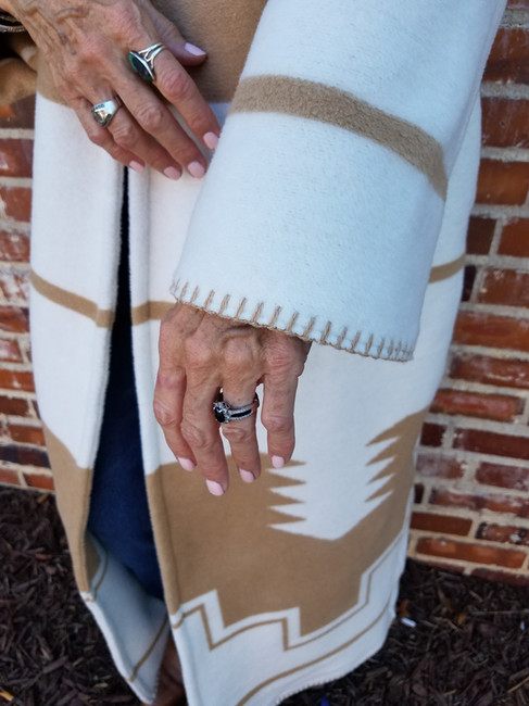 Close up Sleeve Blanket Stitch Detail -