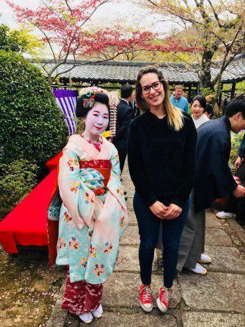Sol Althabegoiti, en uno de sus viajes por Japón
