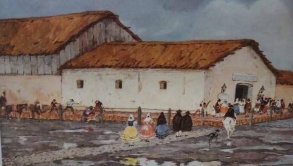 Cuadro muestra el teatro de La Ranchería en detalle, con su techo de paja, sus paredes de adobe - abc.gov.ar