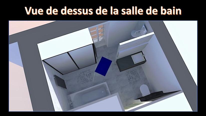 maquette 3D vue de dessus de la salle de bain
