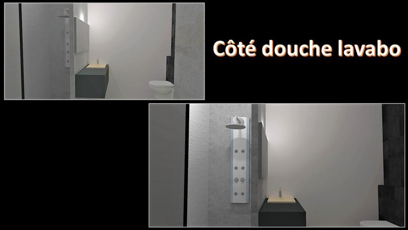 maquette 3D côté douche et lavabo