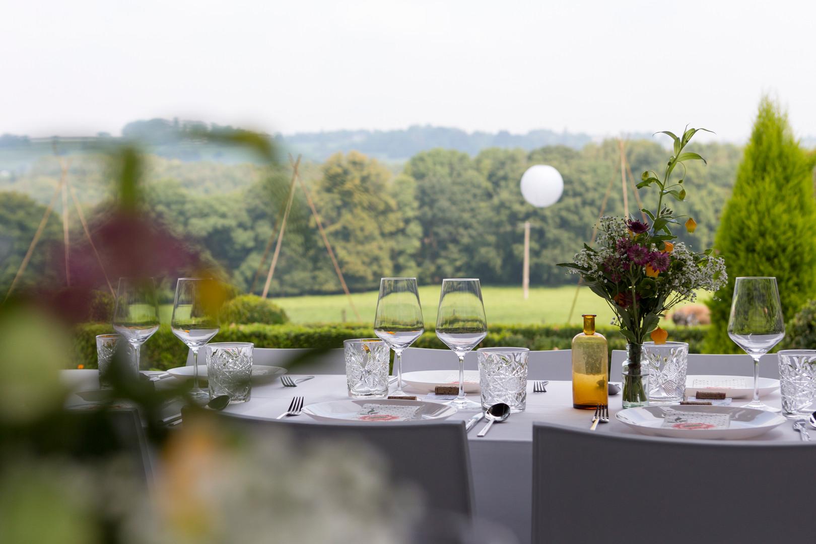 Prachtig uitzicht van de eettafel