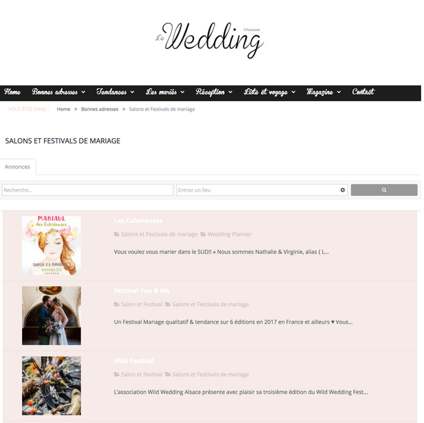 Agenda du Wedding Magazine 2018