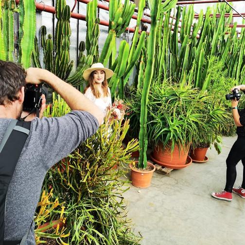 Backstage shooting cactus