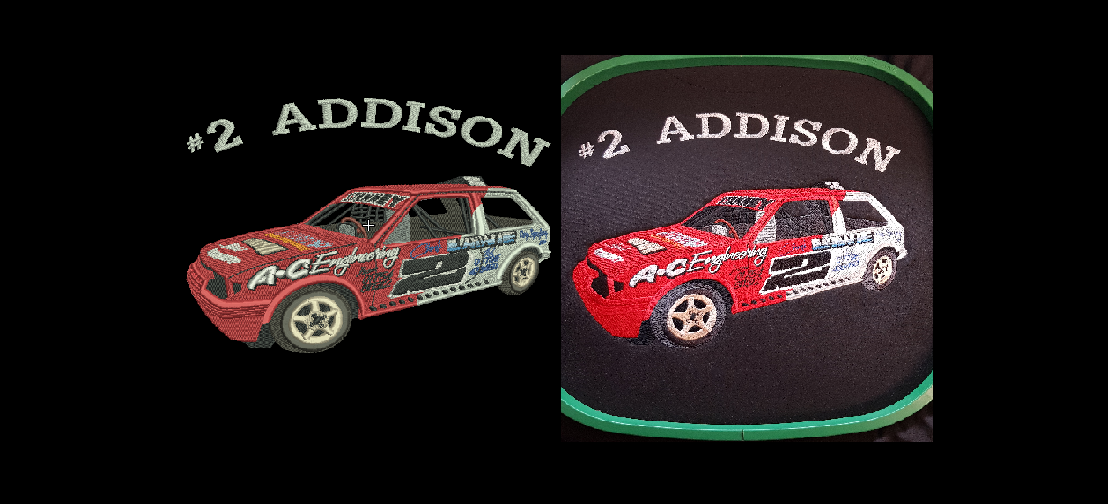 Addison racing embroidered digitisation comparison
