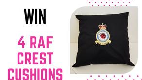 Win 4 RAF crest cushions