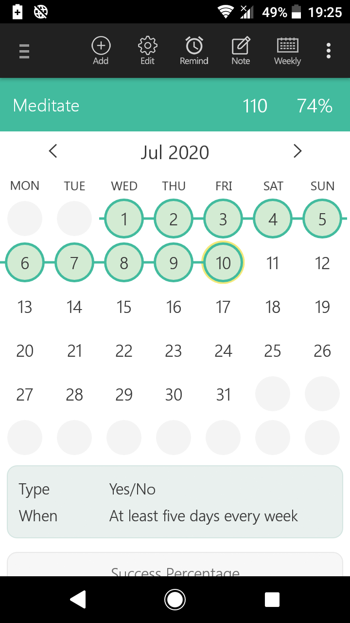 A habit tracking app screenshot showing 110 days in a row that I've meditated