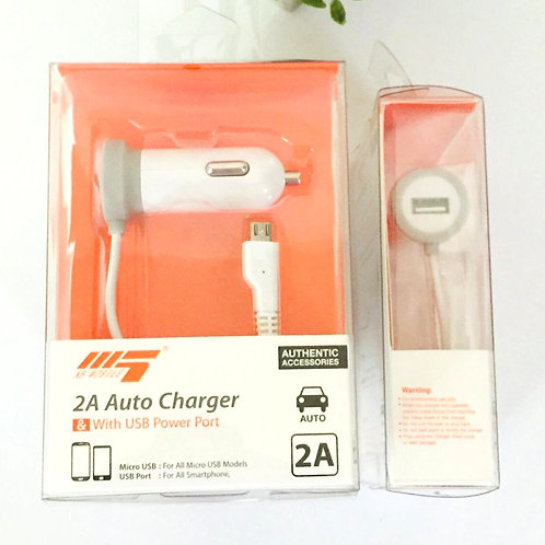 2A Auto Car Charger & USB Port