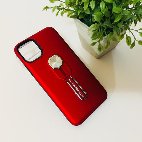 "Apple iPhone 11 Pro Max 6.5"" Red Case Stand & Finger"