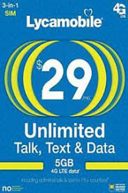 LYCA MOBILE LYCAMOBILE PREPAID $29 PLAN 5GB 1 MONTH FREE 3 IN 1 SIM CARD