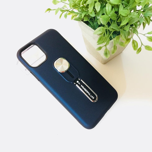 """Apple iPhone 11 Pro Max 6.5"""" Blue Case Stand & Finger"""
