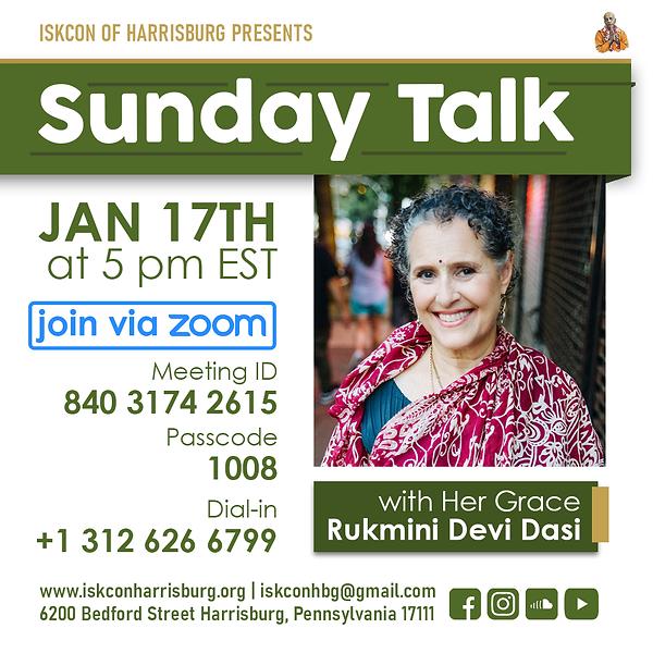 Sunday Talk via Zoom w Rukmini Mataji.pn