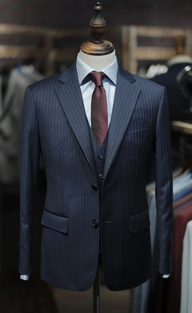 Business Formal Blue Stripes Suit
