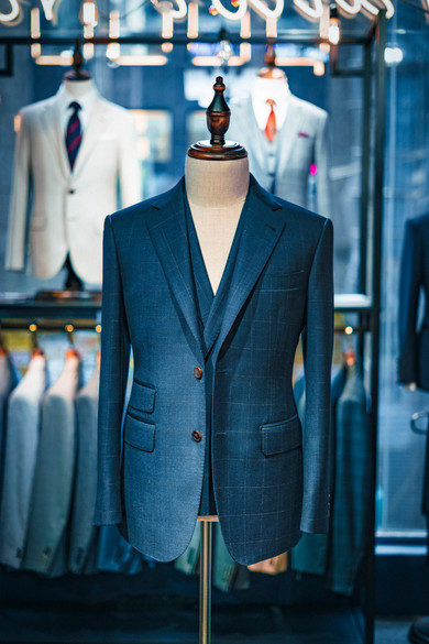 Dark Blue with Brown Checkers Suit
