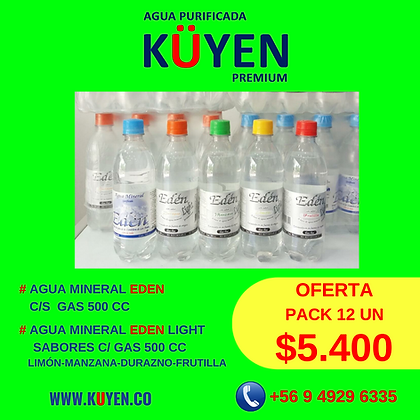 PACK AGUA MINERAL SABORES C/GAS SIN SELLOS
