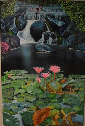 Lily pad ($800) 24x36  original acyrilic