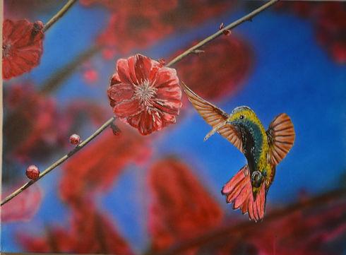 red blossom ($275) 18x24 original acryli