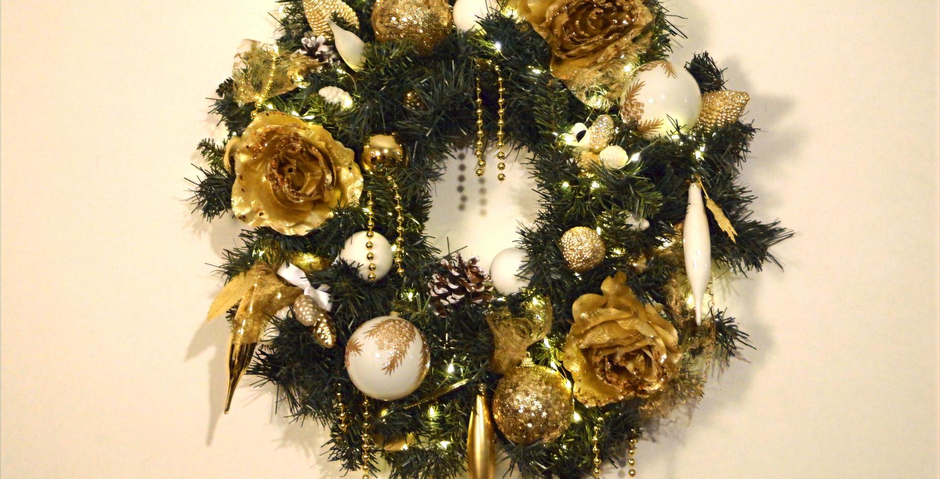 Kerstkrans golden glow