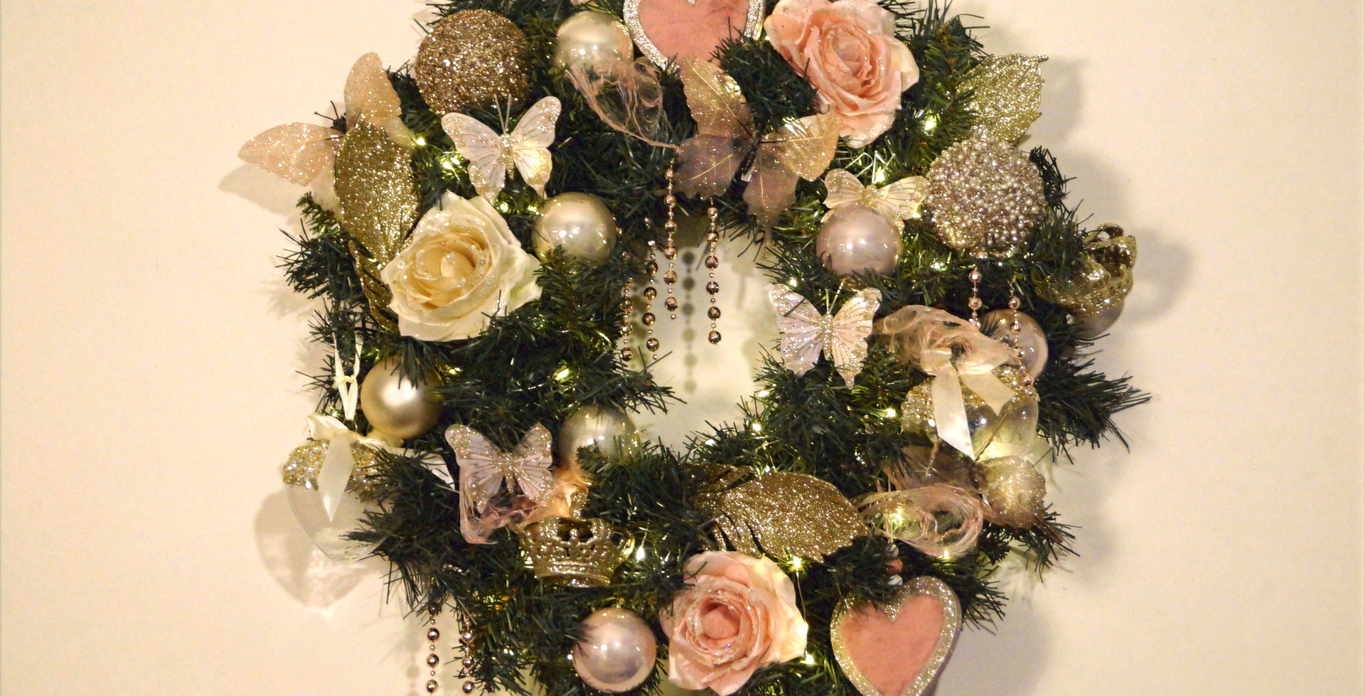 Kerstkrans romantic chic